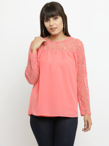 Women's Coral Long Sleeves Top