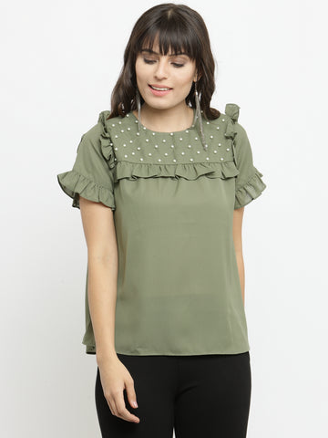 Women's Olive Short Sleeves Top