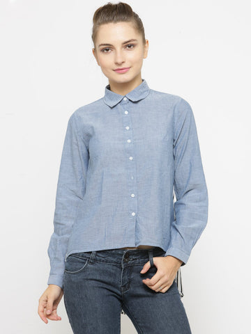 Women Blue Regular Fit Printed Casual Shirt