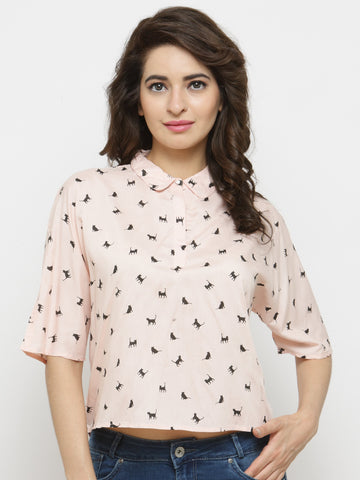 Women Peach Printed Styled Back Top
