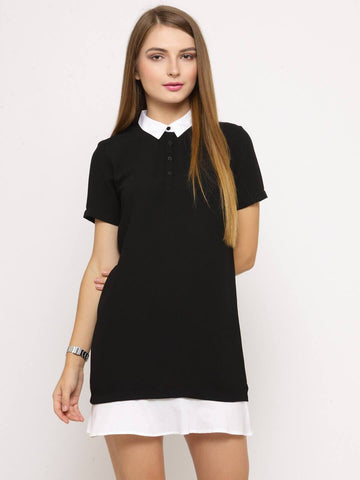 Women Black Solid Shirt Dress