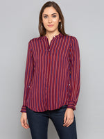 Maroon Stripe V Neck Shirt