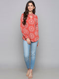 Cutout Front Printed Top