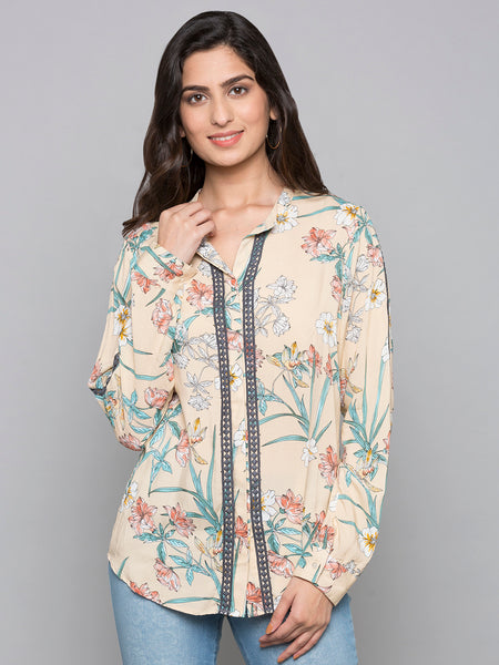 V Neck Printed Top