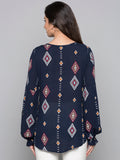 Ikat Print Top With Pompom