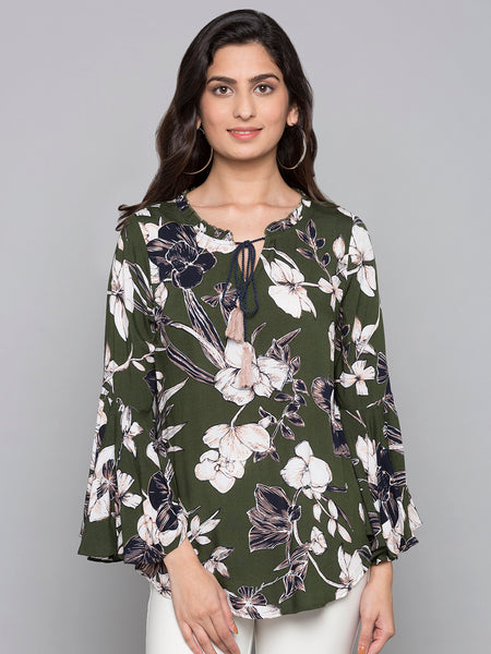 Bell Sleeves Printed Top With Drawsting Neck  Detail