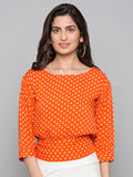 Back Knot Detail Polkadot Print Top