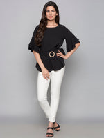 Bell Sleeves Top With Belt