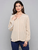 Stripe Shirt With Lace Detail