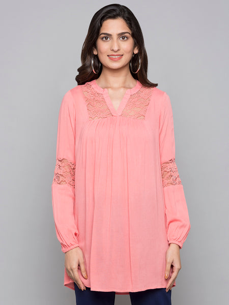 V Cut Solid Top With Lace Detail