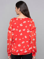 Printed Top With Ruffle Sleeves
