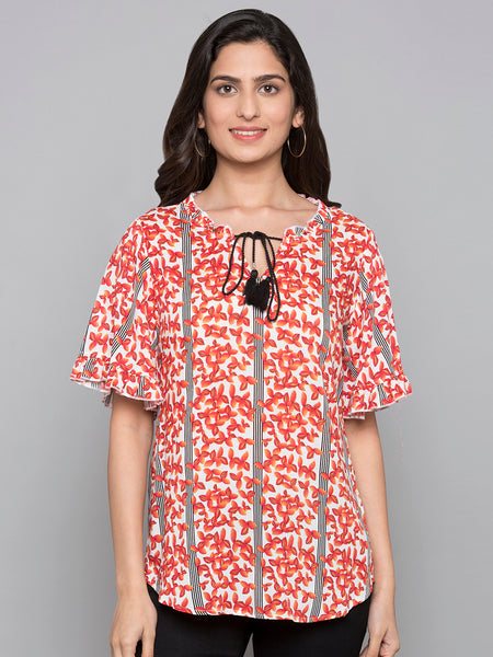 Bell Sleeves Floral Print Top With Tassels