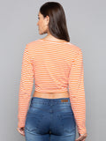 Tie Up Front Striped Crop Tee