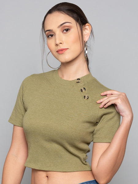 Button Detail Ribbed T-Shirt