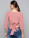 Back Knot Detail Plaid Top