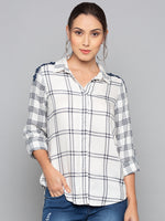 Monochrome Checks Shirt With Lace Detail