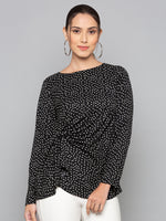 Printed Top With Side Pleates