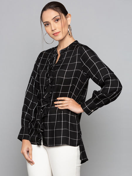 Plaid Blouse With Frill Trim