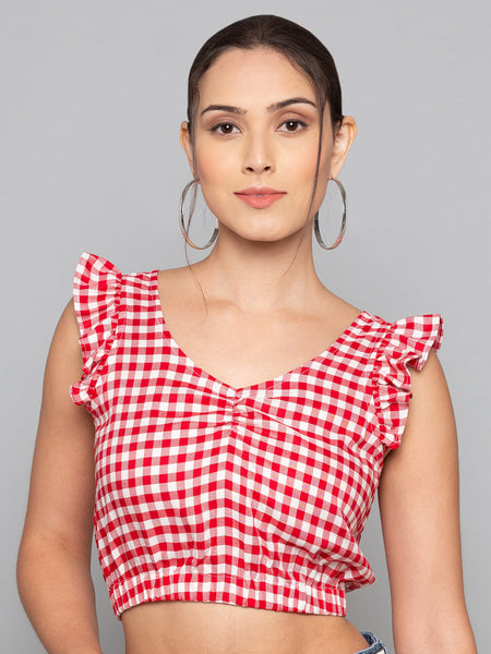 Frill Trim Plaid Top