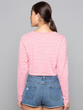Tie Up Front Striped Crop T-Shirt