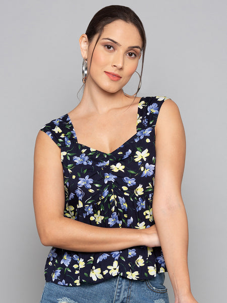 Front Pleated Floral Print Top