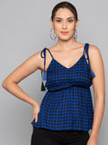 Plaid Cami Top With Tassels