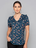 Floral Print Peasant Top With Frill Trim