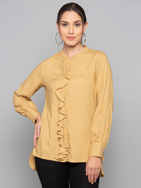 Plain Blouse With Frill Trim