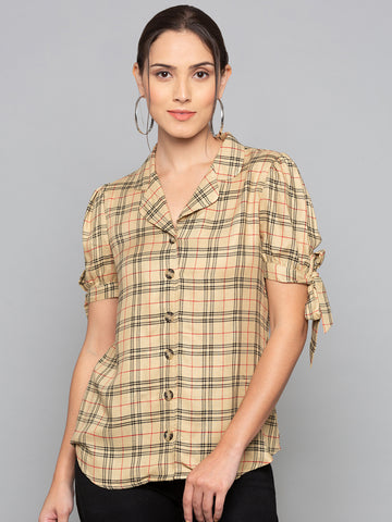 Plaid Shirt With Sleeve Tie Up
