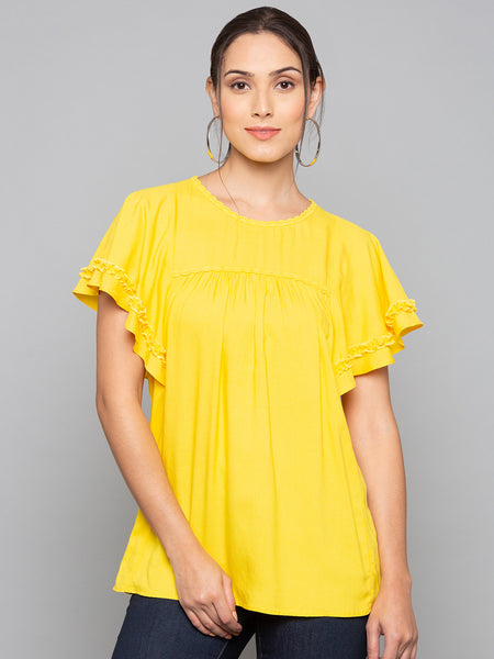Solid Founce Sleeves Top