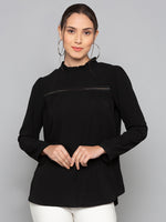 High Neck Black Solid Top
