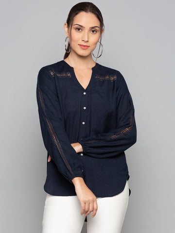 Plain Shirt With Lace Detail