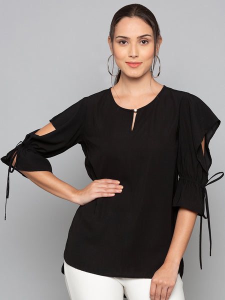 Soild Slit Sleeves Top