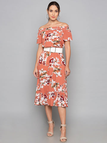 Salmon Floral Off Shoulder Dress