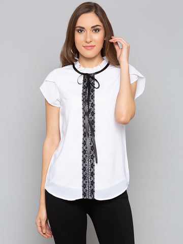 White Frill Neck with lace Trim Top