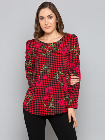 Red Floral With Checks Top