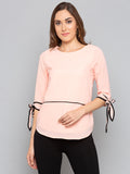 Peach Solid Tie Sleeves Top