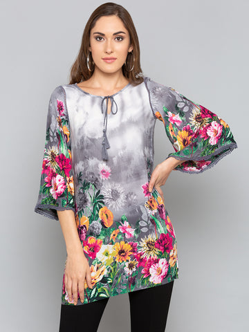Grey Floral With Bell Sleeves Top
