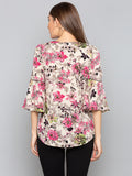 Beige Floral Bell Sleeves Top