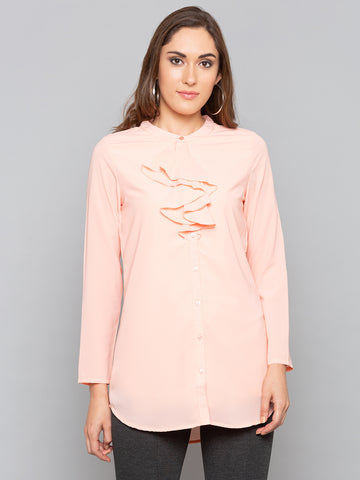 Peach Solid Ruffel Neck Blouse