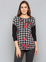 Black Floral with Checks Top