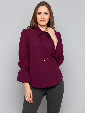 Purple Solid Top With High Neck Tie Up Detail