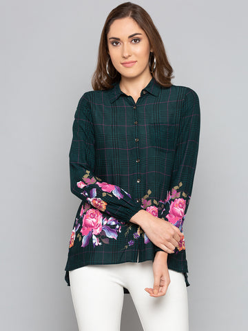 Green Floral With Checks Shirt
