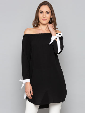 Black Solid off shoulder Tie Sleeve Top