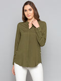 Olive Solid V Cut Shirt