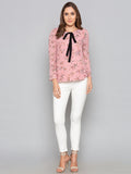 Pink Floral With Bow on Neck Detail
