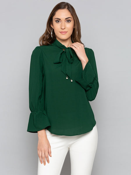 Green Solid Tie Neck Top