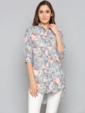 Grey Floral High n Low Shirt