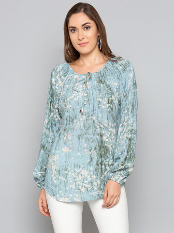 Green Printed Tassel Trim Neck Top