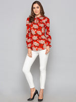 Red Floral High Neck Top